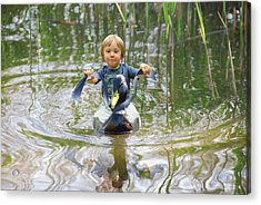 Cute Tiny Boy Riding A Duck Acrylic Print by Jaroslaw Grudzinski