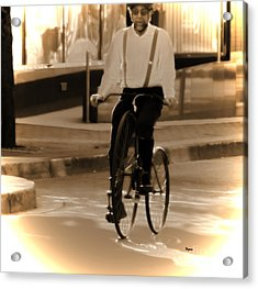 Cycling From Vintage Past  Acrylic Print by Steven Digman
