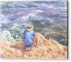 Cyprus Fisherman Acrylic Print by Maureen Carter