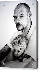 Acrylic Print featuring the drawing Daddy's Girl by Lynn Hughes