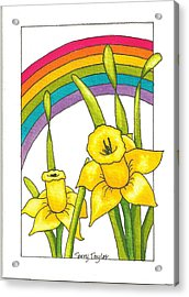 Acrylic Print featuring the painting Daffodils And Rainbows by Terry Taylor