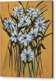 Acrylic Print featuring the painting Daisies by Pauline  Kretler