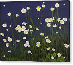 Acrylic Print featuring the painting Daisy Field by Janet Greer Sammons
