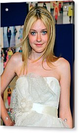 Dakota Fanning Wearing Marchesa Dress Acrylic Print by Everett