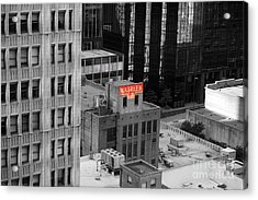 Acrylic Print featuring the photograph Dallas Texas Red Color Splash Black And White by Shawn O'Brien
