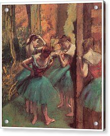 Dancers Pink And Green Acrylic Print by Edgar Degas