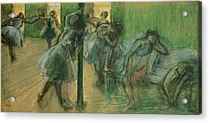 Dancers Rehearsing Acrylic Print by Edgar Degas