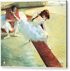 Dancers Resting Acrylic Print by Edgar Degas
