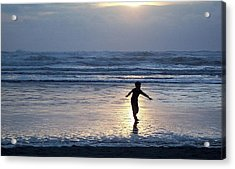 Dancing Boy At Sunset Acrylic Print by Peter Mooyman