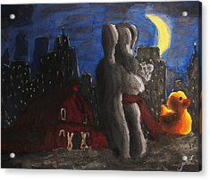 Acrylic Print featuring the painting Dancing Figures With Barn Duck And Cityscape Under The Moonlight.  by M Zimmerman