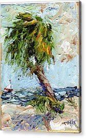 Acrylic Print featuring the painting Dancing Palm by Doris Blessington