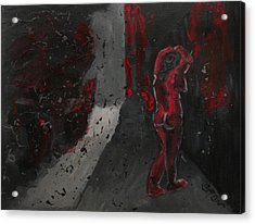 Acrylic Print featuring the painting Dark Raining Brooding Alley Chick by M Zimmerman