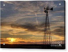 Acrylic Print featuring the photograph Dark Sunset With Windmill by Art Whitton