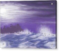 Acrylic Print featuring the painting Darkcastlemoon by Roxy Riou