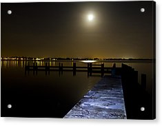 Darkness On The Bradenton Bay Acrylic Print by Nicholas Evans