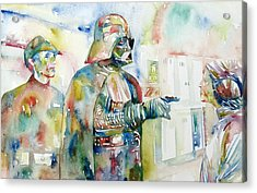 Darth Vader And Princess Leia Portrait Acrylic Print by Fabrizio Cassetta