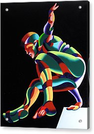 Dave 25-03 - Abstract Geometric Figurative Oil Painting Acrylic Print by Mark Webster