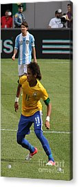 David And Goliath Lionel Messi And Neymar Junior Acrylic Print by Lee Dos Santos