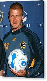 David Beckham At The Press Conference Acrylic Print by Everett