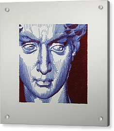 David In Periwinkle And Burgundy Acrylic Print by Barbara Lugge