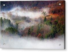Acrylic Print featuring the photograph Dawn Mists Slovenia by Graham Hawcroft pixsellpix