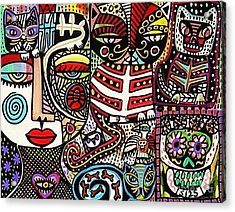Day Of The Dead Cats Acrylic Print by Sandra Silberzweig