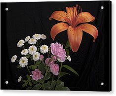 Daylily And Roses Acrylic Print by Michael Peychich