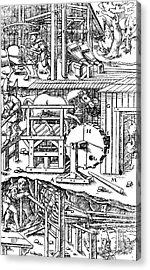 De Re Metallica, Ventilation Of Mines Acrylic Print by Science Source