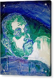 Death Metal Portrait In Blue And Green With Fu Man Chu Mustache And Cracking Textured Canvas Acrylic Print