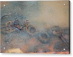 Debris In Canal Bed Acrylic Print by Mary McAvoy
