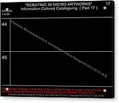Debuting 50 Micro Artworks Part 17  Acrylic Print by Phillip H George