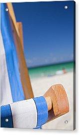 Deckchair On Porthmeor Beach Acrylic Print by Alex Bramwell