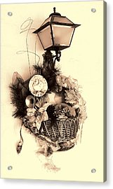 Decorative Holiday Basket With Lamp Acrylic Print by Linda Phelps