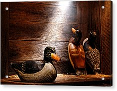 Decoys In Old Hunting Cabin Acrylic Print by Olivier Le Queinec