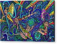 Deep Blue Surfing Acrylic Print by Karen Elzinga