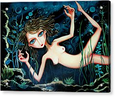 Acrylic Print featuring the painting Deep Pond Dreaming by Leanne Wilkes