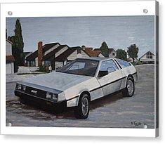 Delorean Acrylic Print by Nate Geare