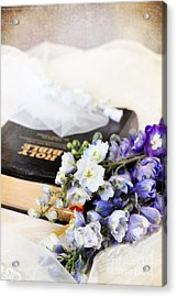 Delphiniums And Bible Acrylic Print by Stephanie Frey
