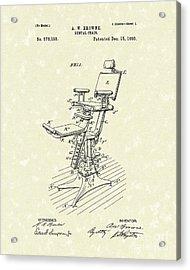 Dental Chair 1896 Patent Art Acrylic Print by Prior Art Design