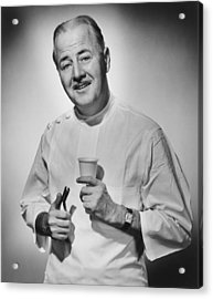 Dentist Holding Pliers And Cup Posing In Studio, (b&w), Portrait Acrylic Print by George Marks