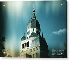 Denton County Courthouse Acrylic Print by Angela Wright