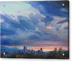 Denver Skyline At Sunset Acrylic Print