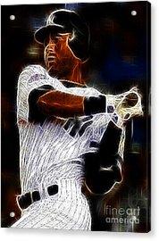 Derek Jeter New York Yankee Acrylic Print by Paul Ward