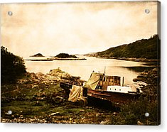 Derelict Boat In Outer Hebrides Acrylic Print by Jasna Buncic