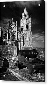 Derrys Walls And Guildhall With Cannon Acrylic Print by Joe Fox