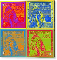 Desert Chief Cigar Box Label Acrylic Print by Dwayne  Graham