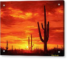 Acrylic Print featuring the painting Desert Heat by Wayne Pascall