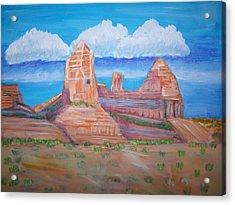 Desert Mountain Acrylic Print by Belinda Lawson