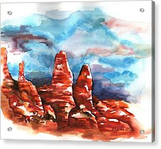 Acrylic Print featuring the painting Desert Sentries by Sharon Mick