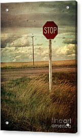 Deserted Red Stop Sign On The Prairies Acrylic Print